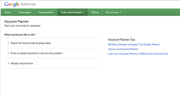 how to use google keywords planner tool